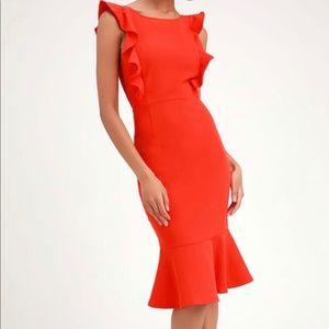 Lulu's Coral Orange Ruffle Midi Dress